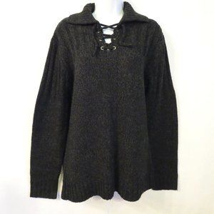 Kenneth Cole sweater Medium Acrylic wool Gray Lace up V-neck Pullover womens